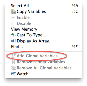 Add Global Variables is disabled