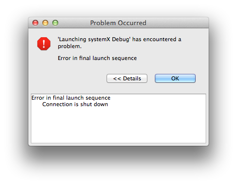 Final launch sequence error