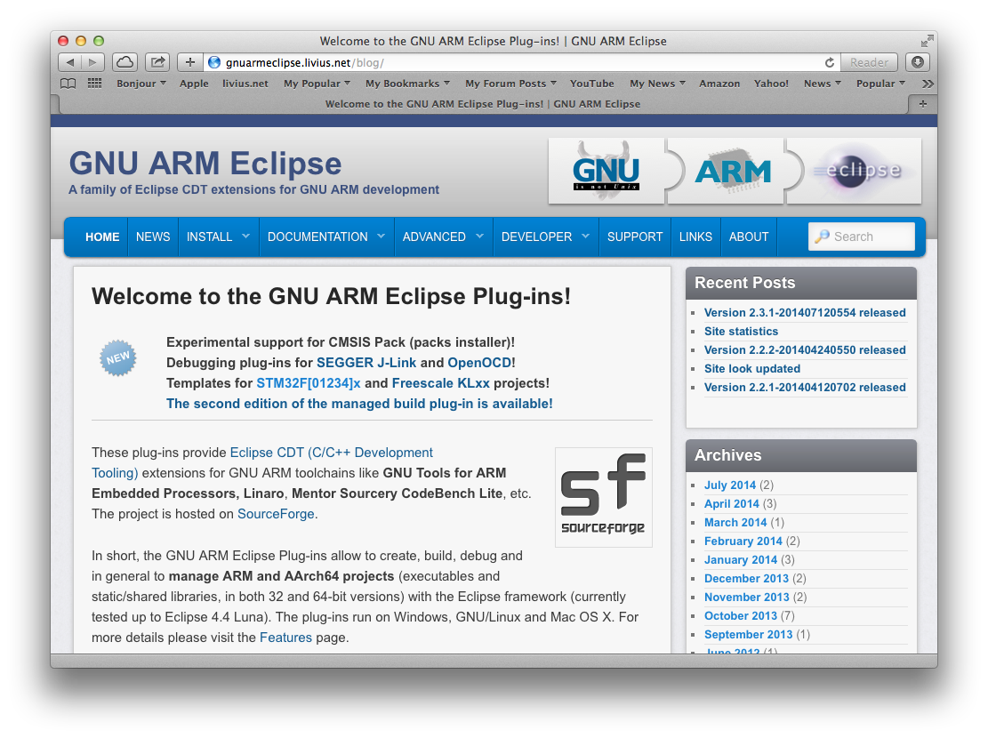 The GNU ARM Eclipse home page