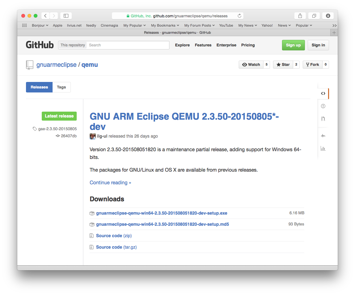 How to download the GNU MCU Eclipse QEMU?