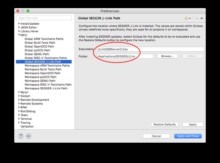 The J-Link debugging Eclipse plug-in