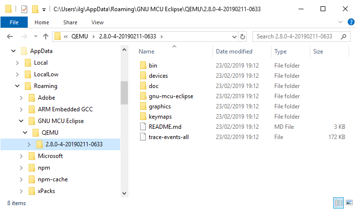 QEMU Windows folders layout